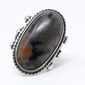 REPAIR NAVAJO Sterling Silver Studs Agate Ring 7.5